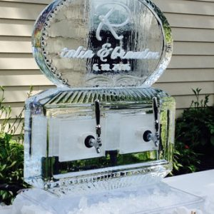"""2 Spout Craft Beer Server Ice Carving - 35"""" x 40"""", 2 Blocks"""