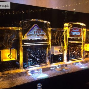 """3 Spout Craft Beer Server with Logos Ice Carving - 110"""" x 50"""", 8 Blocks"""