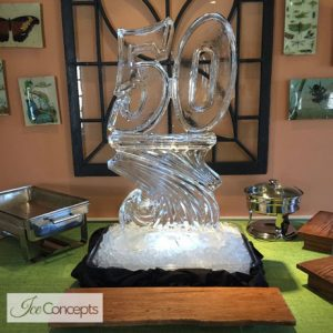 "50 on Base Ice Sculpture - 20"" x 40"", 1 Block"