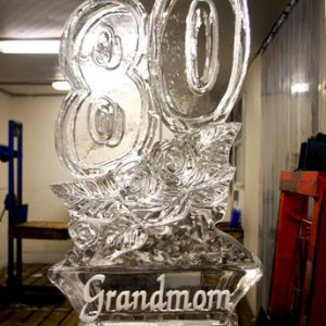 "80 with Engraving Ice Sculpture - 20"" x 40"", 1 Block"