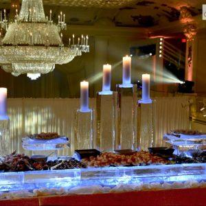 "Candle Seafood Server Ice Sculpture - 120"" x 30"", 8 Blocks"
