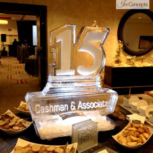 "Cashman And Associates Logo Ice Sculpture - 35"" x 35"", 2 Blocks"
