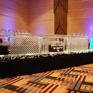 "Cross Hatch Style Ice Bar with Monogram - 16' Long, 45"" Bar Height"