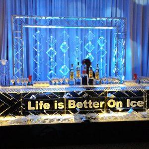 """Custom Ice Bar with Curtain Backdrop - 16' Long, 45"""" Bar Height"""