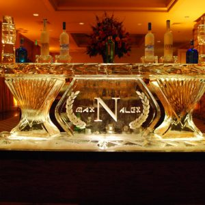 "Custom Mitzvah Ice Bar with Names - 8' Long, 45"" Bar Height"