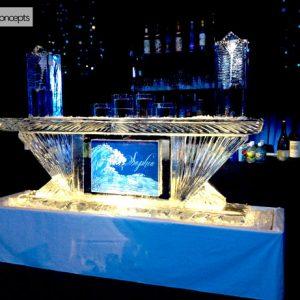 "Custom Sophia Ice Bar - 8' Long, 45"" Bar Height"