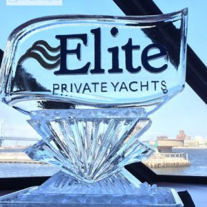 "Elite Yachts Logo Ice Sculpture - 35"" x 40"", 1.5 Blocks"
