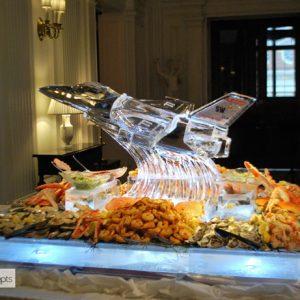 """F16 Custom Seafood Server Ice Sculpture - 51"""" x 57"""", 7 Blocks"""