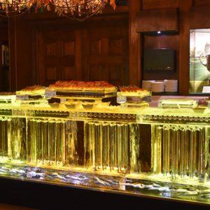 "Floor Standing Seafood Table - 110"" long, 45"" Table Height, 10 Blocks"