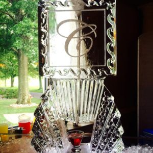 """Initial Square Luge Ice Carving - 20"""" x 40"""", 1 Block"""