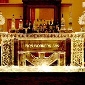 """Iron Workers Ice Bar - 8' Long, 45"""" Bar Height"""