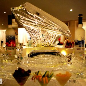 """Luge with Ice Tray and Bottle Holders Ice Carving - 40"""" x 37"""", 1.5 Blocks"""