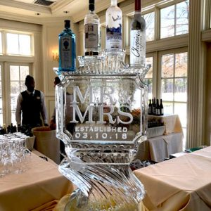 Mr. and Mrs. Wedding Luge Ice Carving