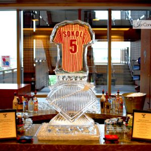 """Phillies Jersey Luge Display Ice Carving - 20"""" x 55"""", 2 Blocks"""