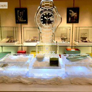 "Contemporary Rolex Cube Seafood Server Ice Sculpture - 60"" Long, 3.5 Blocks"