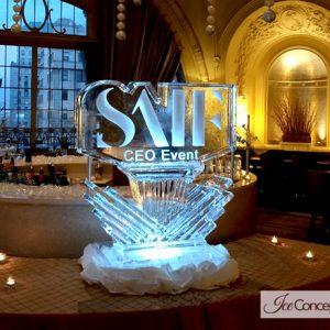 "SAIF Logo Ice Sculpture - 40"" x 40"", 2 Blocks"