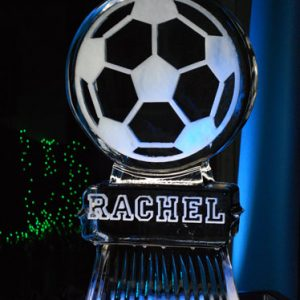 "Soccer Ball with Name Ice Sculpture - 20"" x 40"", 1 Block"