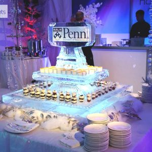 """2 Tier Double Sided Logo Seafood Server Ice Sculpture - 40"""" Square, 4 Blocks"""