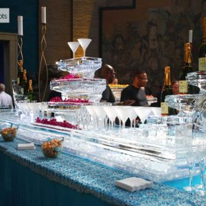 """Table Top Martini Station Display Ice Carving - 110"""" x 40"""", 6.5 Blocks"""