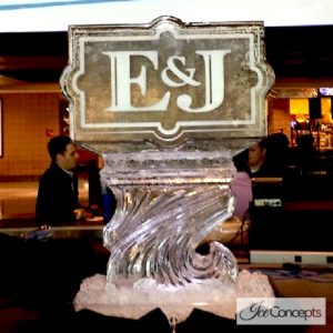 "Wedding Initial Vodka Luge Ice Carving - 35"" x 40"", 2 Blocks"
