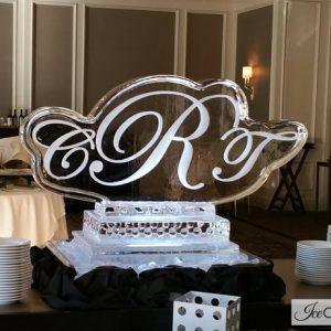 "Wedding Monogram Ice Carving - 40"" x 30"", 1.5 Blocks"