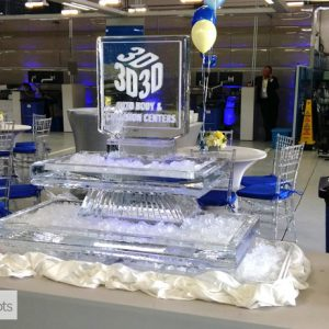 "2 Tier Seafood Server with Logo Ice Sculpture - 40"" x 38"", 2.5 Blocks"