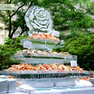 "3 Tier Seafood Server with Rose Ice Sculpture - 40"" x 20"", 3.5 Blocks"