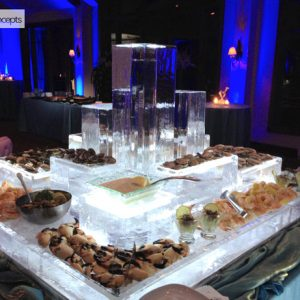 "City Scape Tower Seafood Server Ice Sculpture - 51"" x 57"", 6 Blocks"