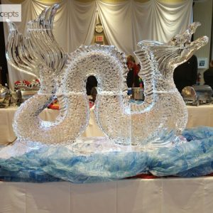"6 Foot Serpent Ice Sculpture - 72"" x 55"", 4 Blocks"