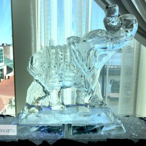 "Asian Elephant Ice Carving - 40"" x 35"", 2 Blocks"