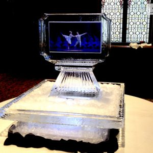 "2 Sided Ballet Display Ice Sculpture - 40"" x 40"", 3.5 Blocks"