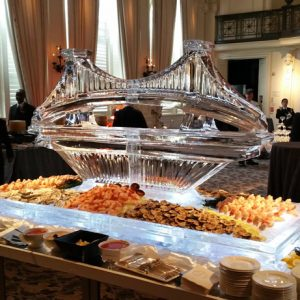 "Ben Franklin Bridge Seafood Server Ice Sculpture - 80"" x 30"", 7 Blocks"