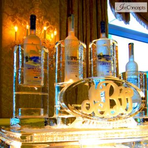 "Bottle Sleeve Monogram Display Ice Carving - 40"" x 35"", 2.5 Blocks"