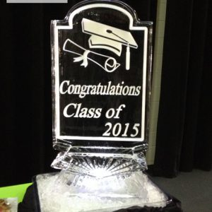 "Cap and Diploma Ice Sculpture - 20"" x 40"", 1 Block"