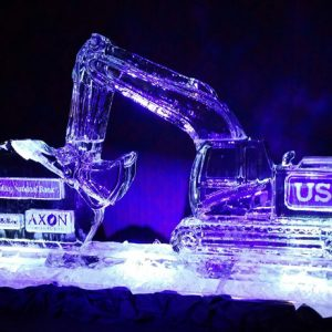 "Construction Theme Sponsor Display Ice Sculpture - 70"" x 40"", 3.5 Blocks"