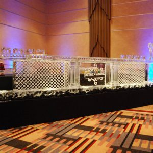 "Cross Hatch Style Ice Bar with Monogram - 16' Long, 45"" Bar Height"