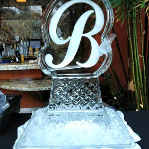 Cursive Initial Luge Ice Carving