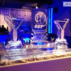 "Custom 007 Martini Display Ice Carving - 80"" x 65"", 7 Blocks"
