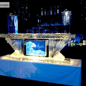 "Custom Sophia Ice Bar - 8' Long, 45"" Bar Height"