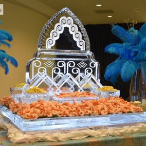 "Art Deco Seafood Server Ice Sculpture - 51"" x 57"", 7 Blocks"