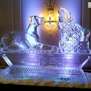 "Custom Dog Display with Names Ice Carving - 80"" x 65"", 5 Blocks"