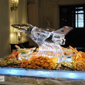 "F16 Custom Seafood Server Ice Sculpture - 51"" x 57"", 7 Blocks"