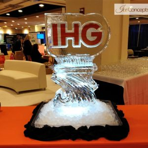 "IHG Logo with Luge Ice Sculpture - 30"" x 40"", 1.5 Blocks"