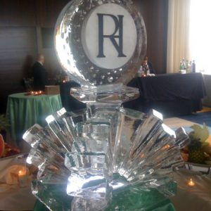 """Initials On Abstract Base Ice Carving - 30"""" x 40"""", 2 Blocks"""