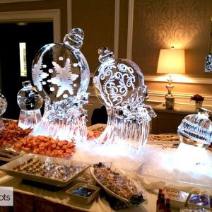 "Jingle Ball Display Ice Sculpture - 80"" x 40"", 3.5 Blocks"