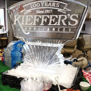 "Keiffer's Logo Ice Sculpture - 35"" x 40"", 1.5 Blocks"