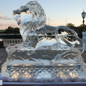 "Large Lion Ice Sculpture - 60"" x 70"", 7 Blocks"