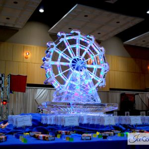 "Lighted Ferris Wheel Ice Sculpture - 35"" x 50"", 3.5 Blocks"
