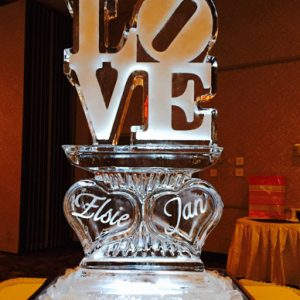 "Love Hearts With Names Ice Carving - 20"" x 40"", 1 Block"
