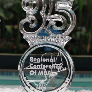 "MBA 35 Logo Ice Sculpture - 20"" x 40"", 1 Block"